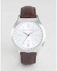 French Connection - Watch Silver Dial With Leather Strap - Lyst