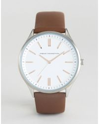 French Connection - Brown Leather Strap Watch White Dial - Lyst