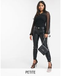 River Island Faux Leather Skinny Trousers - Black