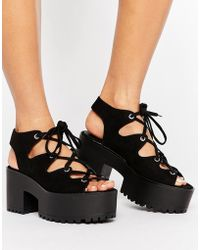 Pull&Bear - Lace Up Wedge Sandals - Lyst