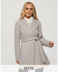 Miss Selfridge Wrap Coat - Grey