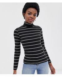 ASOS - Asos Design Petite Turtleneck Long Sleeve Top In Stripe - Lyst
