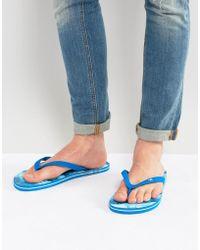 Hollister - Flip Flops Wave Image Print In Blue - Lyst