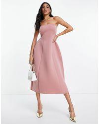 ASOS Vestido midi rosa negruzco