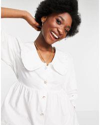 Miss Selfridge Camisa color marfil con cuello tipo babero - Blanco