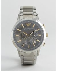 Emporio Armani - Ar11047 Chronograph Bracelet Watch In Silver 43mm - Lyst