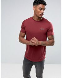 Defend London - T-shirt In Burgundy With Logo - Lyst