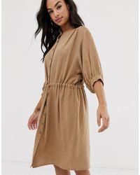 Vila Gathered Waist Linen Utility Dress - Natural