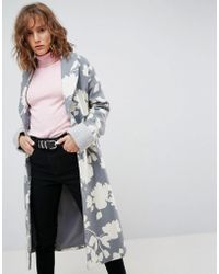 ASOS - Oversized Coat With Jaquard Print - Lyst