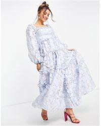 Needle & Thread - Голубое Платье Макси С Цветочным Принтом И Оборками Summer Blossom-многоцветный - Lyst