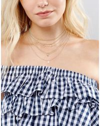 New Look - Layered Diamante Chain Choker - Lyst