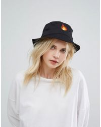 Adolescent Clothing - Adolescent Bucket Hat With Flame Embroidery - Lyst