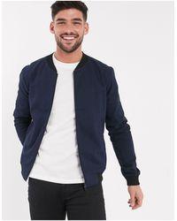New Look Lightweight Cotton Bomber Jacket - Blue