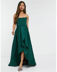 True Violet Exclusive Prom Midi High Low With Corset Detail - Green