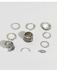 ASOS - Design Ring Pack With Stone Interest And Feather In Burnished Silver - Lyst