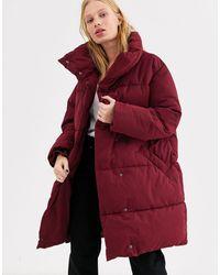 Monki Бордовая Длинная Дутая Куртка -красный