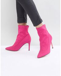 Faith | Bow Hot Pink Suede Sock Boots | Lyst