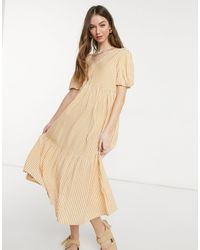 Warehouse Stripe Tie Back Midi Dress - Yellow