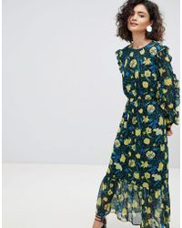 SELECTED   Floral Midaxi Dress With Ruffle Details   Lyst