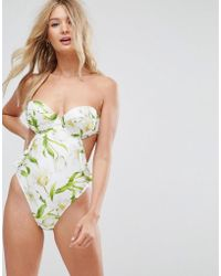 ASOS - Fuller Bust Riviera Floral Print Cupped Frill Bandeau Swimsuit Dd-g - Lyst