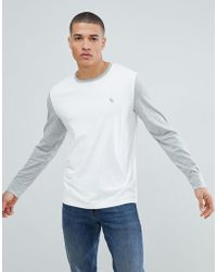 a878e67a Abercrombie & Fitch - Icon Logo Colour Block Long Sleeve Top In White/grey -