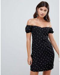 PrettyLittleThing - Bardot Mini Dress In Polka - Lyst