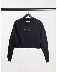 Calvin Klein Cropped Crew Neck Jumper - Black