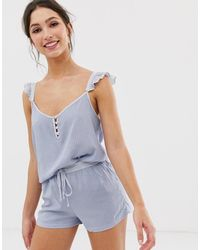 Women'secret Printed Ruffle Short Pyjama Set - Blue