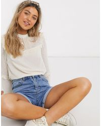 Oasis Dobby Mesh Blouse With Lace Trim - White