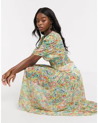 Never Fully Dressed Puff Sleeve Sheer Tiered Trapeze Maxi Dress - Multicolour