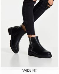 Truffle Collection Черные Стеганые Ботинки Для Широкой Стопы На Молнии Сбоку -черный Цвет