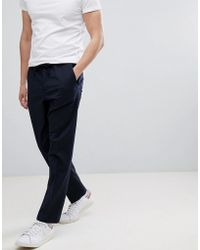 Mango - Man Wool Blend Crop Chino In Navy - Lyst