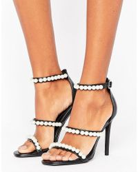 Missguided Pearl Strap Barley There Heeled Sandal - Black