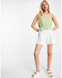Pimkie Gingham Crop Top With Frill Detail - Green