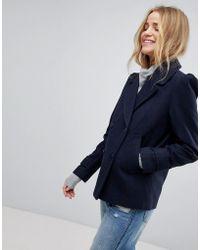 New Look - Puff Sleeve Pea Coat - Lyst