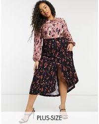 Closet London Plus Long Sleeve Gathered Midaxi Dress On Contrast Leopard - Multicolour
