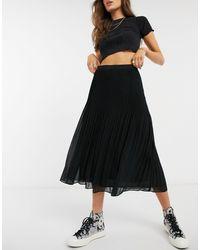 Oasis Pleated Midi Skirt - Black