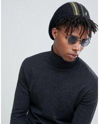 Kangol Identity Stripe 504 Flat Cap In Black