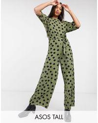 ASOS ASOS DESIGN tall - Tuta jumpsuit allacciata - Verde