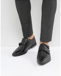ASOS Asos Wide Fit Monk Shoe In Black Leather With Embossing