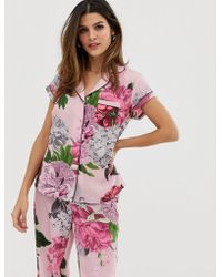 Ted Baker - B By Palace Gardens Floral Print Short Sleeve Revere Pyjama Top In Light Pink - Lyst