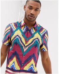 ASOS Regular Shirt Enlarged Digital Aztec In Multi - Blue