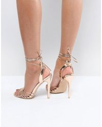 True Decadence - Rose Gold Ankle Tie Heeled Sandal - Lyst