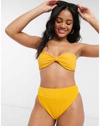 Abercrombie & Fitch High Waisted High Leg Ribbed Bikini Brief - Metallic