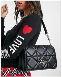 Love Moschino Sac porté épaule matelassé - Noir