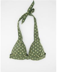 Oasis Бикини-топ С Треугольными Чашечками И Пальмовым Принтом -многоцветный - Зеленый