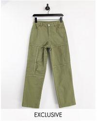 Collusion Unisex - Pantalon droit style années 90 avec coutures apparentes (ensemble) - cendré - Vert