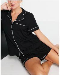 Lindex Черная Пижамная Рубашка С Отложным Воротником Из Экологичной Вискозы Cissi-черный Цвет