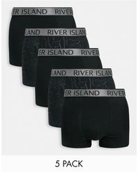 River Island 5 Pack Mono Print Trunks - Black