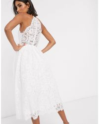 ASOS Кружевное Свадебное Платье Миди С Американской Проймой -белый